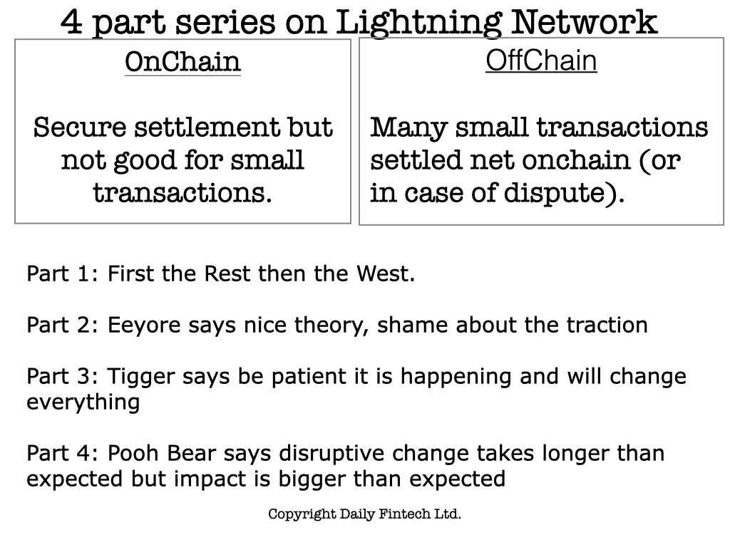 4 part series on Lightning Network Part 4: Pooh Bearsays disruptive change takes longer than expected but impact is bigger than expected